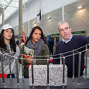 20.10.17.            <br /> Enjoying the LIT (Limerick School of Technology) open day were, Chloe Yap and Jaciara Gomes of St. Marys Charleville with LIT's Paul Greaney, Built Environment. Picture: Alan Place