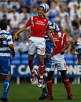 Photo: Steve Bond/Richard Lane Photography. Reading v Nottingham Forest. Coca Cola Championship. 08/08/2009. Chris Cohen gets a header in in front of Liam Rosenior
