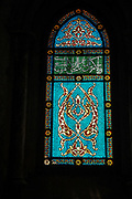 Israel, Jerusalem, Mount Zion, Interior of the Room of the Last Supper (Coenaculum) stained glass window
