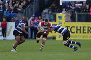 Gloucester back row Ruan Ackermann (6) runs through the tackles during the Aviva Premiership match between Bath Rugby and Gloucester Rugby at the Recreation Ground, Bath, United Kingdom on 29 October 2017. Photo by Gary Learmonth.