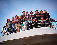 Happy Students out on Deck for Sunset after the Seas Calmed. Image taken with a Nikon1 V1 camera and 10 mm f/2.8 lens.