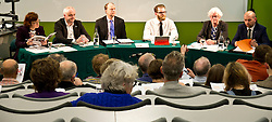 Pictured: <br /> <br /> Candidates from the five main parties will face questions from both a live audience and viewers at home via videolink and social media at an event organised by Stop Climate Chaos Scotland and chaired by journalist David Torrance. The panelists are Labour's Sarah Boyack, Mark Ruskell of the Greens, Ben MacPherson of the SNP, the Lib Dems' Ettie Spencer and Tory Jeremy Balfour<br /> <br /> Ger Harley | EEm 18 April 2016