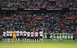 England and Nigeria players during a minute applause before the game