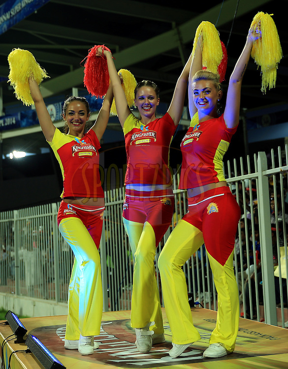 Cheer Girls of Chennai Super Kings during match 17 of the Pepsi Indian Premier League 2014 between the Sunrisers Hyderabad and the Chennai Superkings held at the Sharjah Cricket Stadium, Sharjah, United Arab Emirates on the 27th April 2014<br /> <br /> Photo by Sandeep Shetty / IPL / SPORTZPICS