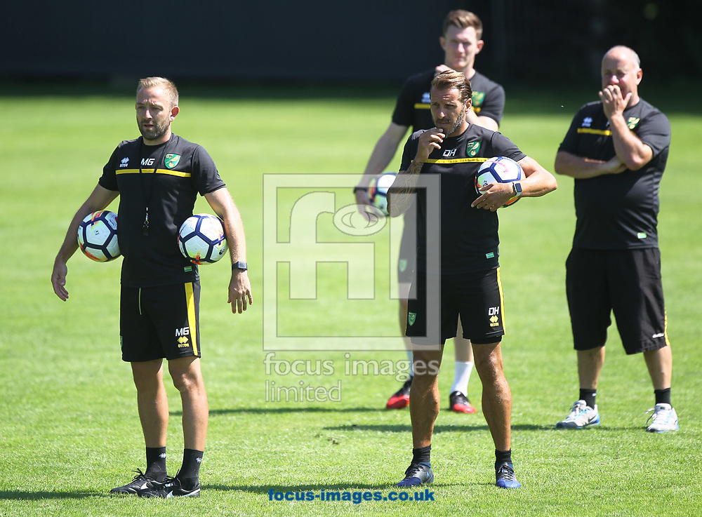 The Norwich U23 development squad are put through their paces by Professional Development Phase Lead Coach (Under-23 Coach) Matt Gill and Professional Development Phase Coach (Under-16 Coach)<br /> Darren Huckerby during the Norwich City Pre-Season Training session at Hotel Klosterpforte, Harsewinkel, Germany<br /> Picture by Paul Chesterton/Focus Images Ltd +44 7904 640267<br /> 18/07/2017