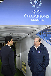 09.03.2016, Stamford Bridge, London, ENG, UEFA CL, FC Chelsea vs Paris Saint Germain, Achtelfinale, Rueckspiel, im Bild al khelaifi nasser, gasset jean louis // during the UEFA Champions League Round of 16, 2nd Leg match between FC Chelsea vs Paris Saint Germain at the Stamford Bridge in London, Great Britain on 2016/03/09. EXPA Pictures © 2016, PhotoCredit: EXPA/ Pressesports/ LAHALLE PIERRE<br /> <br /> *****ATTENTION - for AUT, SLO, CRO, SRB, BIH, MAZ, POL only*****