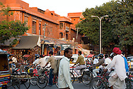 A busy street in the centre of the Pink City in Jaipur, Rajasthan, India