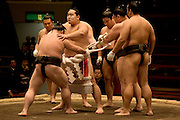 "ASASHORYU - SUMO wrestler with the highest rank of ""YOKOZUNA"", on the sumo ring of the TOKYO kyokai (sumo stadium), putting on his ceremonial uniform for the retirement ceremony of the wrestler Toki. Tokyo 27 January 2007"