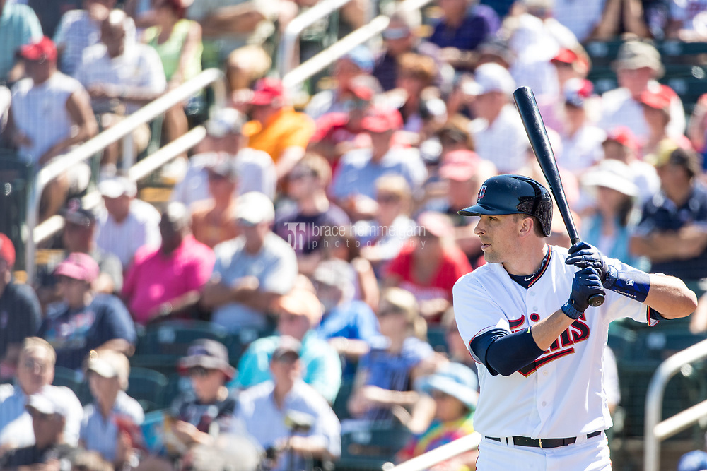 FORT MYERS, FL- FEBRUARY 26: Jason Castro #21 of the Minnesota Twins bats against the Washington Nationals on February 26, 2017 at Hammond Stadium in Fort Myers, Florida. (Photo by Brace Hemmelgarn) *** Local Caption *** Jason Castro