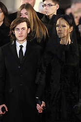 Celine Dion and her son Rene-Charles at the funeral of Canadian artists' agent Rene Angelil, the husband of singer Celine Dion, held at Notre-Dame Basilica (where the couple wed in 1994), in Montreal, Canada on January 22, 2016. Angelil died aged 73 last week after a long battle with throat cancer. Photo by Robin Psaila-Papixs Press/ABACAPRESS.COM  Angelil Rene Dion Celine Obseques Enterrement Funerailles Funeral Paparazzi Pictures Planque Stake Out  | 531462_032 Montreal Canada