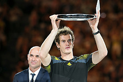 © Licensed to London News Pictures. 27/01/2013. Melbourne Park, Australia. Andy Murray lifts up the runners up trophy during the Mens Final between Novak Djokovic and Andy Murray of the Australian Open. Photo credit : Asanka Brendon Ratnayake/LNP