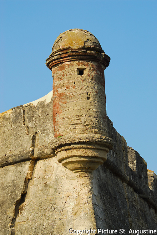 "The southwest watch tower of The Castillo de San Marcos National Monument in St. Augustine, Florida. The fort is built using ""Coquina"" a masonry stone made up of small shells. St. Augustine is the oldest continually occupied city in the United States. It was founded by the Spanish in 1565."