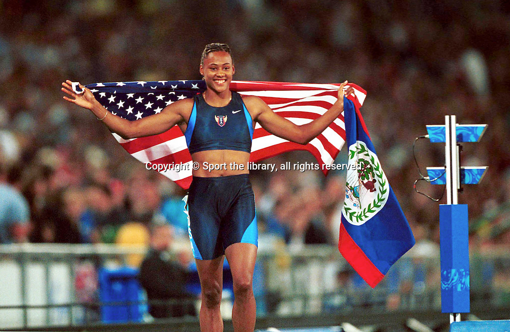 &copy; Sport the library/Mark Horsburgh<br /> Sydney 2000 Olympic Games<br /> Athletics, Day 13, Women's 200m Final<br /> Marion Jones (USA) Gold