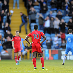 TELFORD COPYRIGHT MIKE SHERIDAN 16/2/2019 - GOAL. Dan Udoh of AFC Telford looks on as Stockport celebrate their opener after 6 minutes during the Vanarama Conference North fixture between Stockport County and AFC Telford United at Edgeley Park