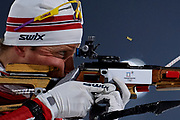 South Korea, PyeongChang - 2018 February 23: Lars Helge Birkeland from Norway shoots while practice warm up one hour before Biathlon Men's 4x7.5km Relay Final during The 2018 PyeongChang Olympic Winter Games at Alpensia Biathlon Centre on February 23, 2018 in PyeongChang, South Korea.<br /> <br /> Mandatory credit:<br /> Photo by &copy; Adam Nurkiewicz<br /> <br /> Adam Nurkiewicz declares that he has no rights to the image of people at the photographs of his authorship.<br /> <br /> Picture also available in RAW (NEF) or TIFF format on special request.<br /> <br /> Any editorial, commercial or promotional use requires written permission from the author of image.
