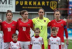 10.04.2016, Vorwärts Stadion, Steyr, AUT, UEFA Frauen EM Qualifikation, Oesterreich vs Norwegen, Gruppe 8, im Bild v.l. Laura Feiersinger (AUT), Nina Burger (AUT), Manuela Zinsberger (AUT), Viktoria Schnaderbeck (AUT) // f.l.t.r. Laura Feiersinger of Austria Nina Burger of Austria Manuela Zinsberger of Austria Viktoria Schnaderbeck of Austria during womens UEFA Euro qualifier, group 8 match between Austria and Norway at the Vorwärts Stadion in Steyr, Austria on 2016/04/10. EXPA Pictures © 2016, PhotoCredit: EXPA/ Reinhard Eisenbauer