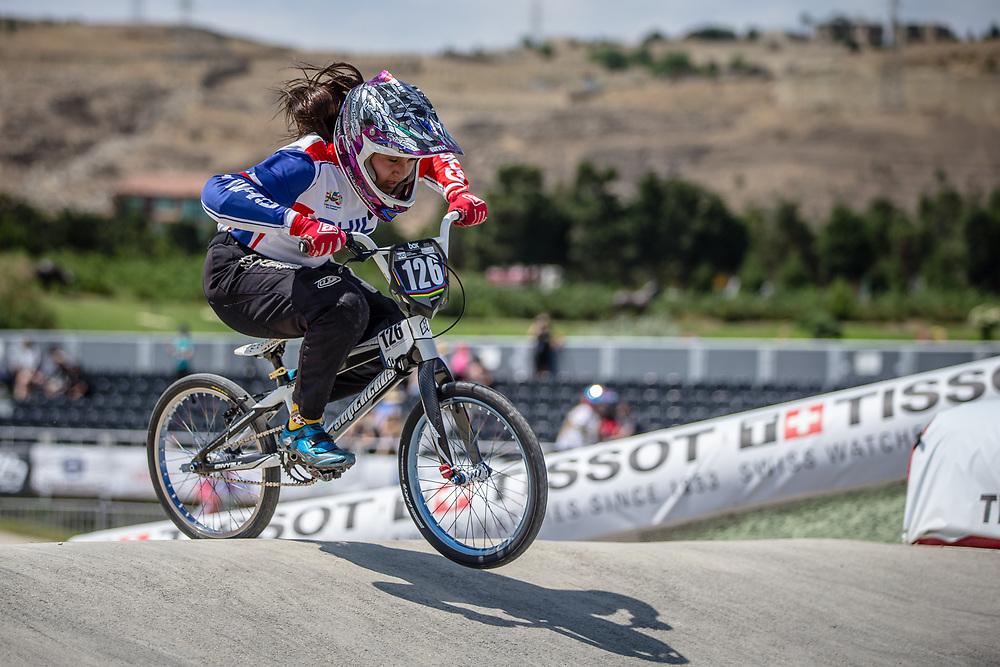 Women Junior #126 (PIZARRO ARAUJO Rocio Macarena) CHI at the 2018 UCI BMX World Championships in Baku, Azerbaijan.