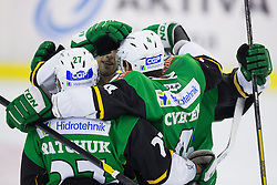 19.10.2012. Hala Tivoli, Ljubljana, SLO, EBEL, HDD Telemach Olimpija Ljubljana vs Dornbirner Eishockey Club, 13. Runde, in picture players of HDD Telemach Olimpija celebrate during the Erste Bank Icehockey League 13th Round match betweeen HDD Telemach Olimpija Ljubljana and Dornbirner Eishockey Club at the Hala Tivoli, Ljubljana, Slovenia on 2012/10/19. (Photo By Matic Klansek Velej / Sportida)