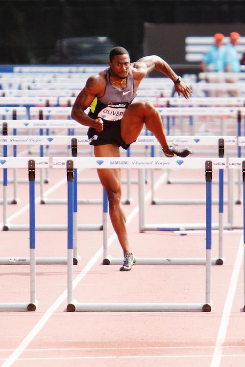 Samsung Diamond League adidas Grand Prix track & field; men's 110 hurdles, David Oliver