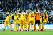 Brighton & Hove Albion players break from the team huddle before the Premier League match between Newcastle United and Brighton and Hove Albion at St. James's Park, Newcastle, England on 30 December 2017. Photo by Craig Doyle.