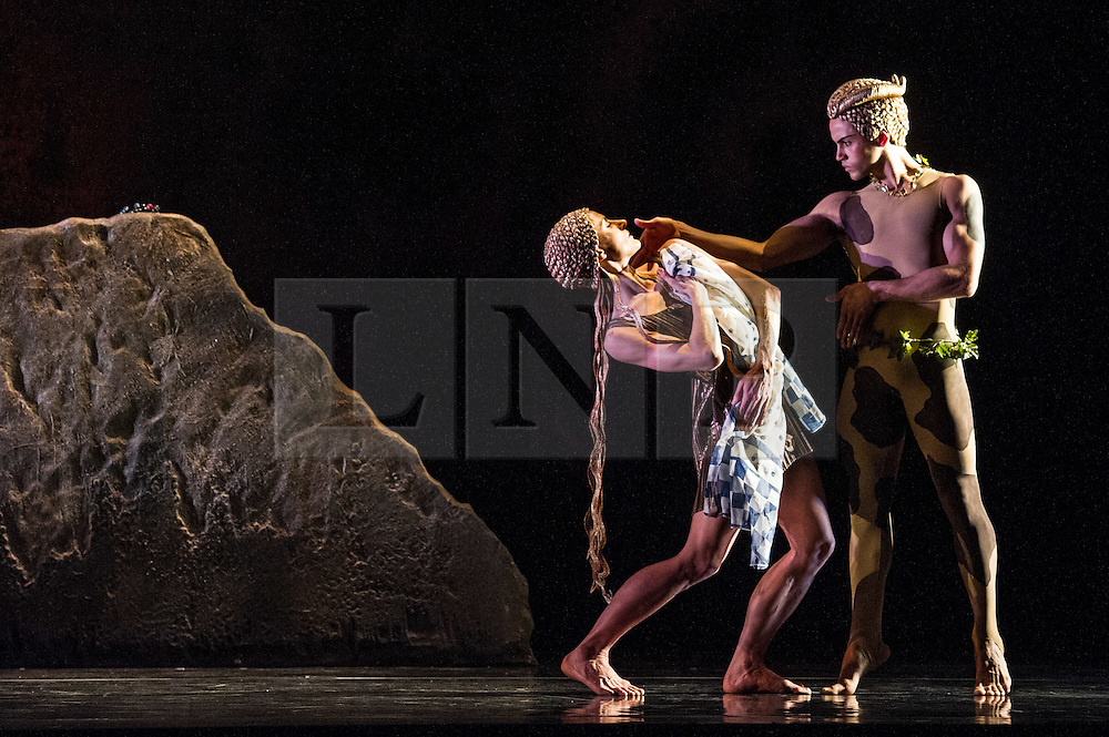 © Licensed to London News Pictures. 15/05/2012. London, UK. Following 10 years at the helm of Rambert Dance Company, Artistic Director Mark Baldwin presents a modern-day take on Nijinskys 100 year old LAprès-midi dun faune, plus his version of this influential work will also be performed, revived by the Company for the first time in almost 30 years. Picture shows: Dane Hurst & Pieter Symonds in L'Apres-midi d'un faune. Photo credit : Tony Nandi/LNP