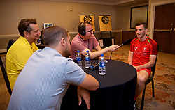 CHARLOTTE, USA - Monday, July 23, 2018: Liverpool's Andy Robertson speaks to the Anfield Wrap podcast at the team's Westin Hotel in Charlotte during International Champions Cup preseason tournament. (Pic by David Rawcliffe/Propaganda)