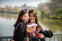 © Licensed to London News Pictures . 28/03/2017 . London , UK . People enjoy sunshine and warm temperatures in St James's Park in London as more spring-like weather persists . Photo credit: Joel Goodman/LNP