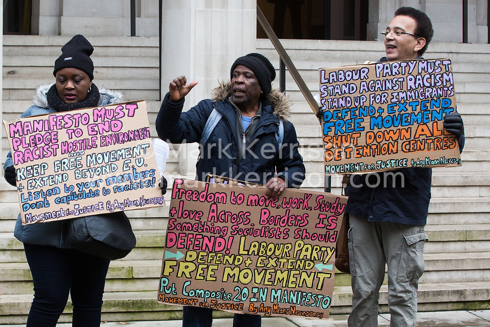 London, UK. 16 November, 2019. Freedom of movement activists from Movement for Justice protest outside Labour's Clause V meeting. Credit: Mark Kerrison/Alamy Live News
