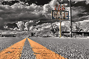 Wall Art of the American West For Sale- Lonely road and old cafe. Echo, Utah. Photo by Colin E. Braley