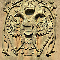 Double-headed Eagle on Martinstor Gate in Freiburg im Breisgau, Germany<br />