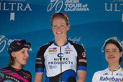 Stage winner Kirsten Wild (NED) stands on the podium, joined by second Lisa Brennauer (GER) of CANYON//SRAM Racing (left) and Marianne Vos (NED) of Rabo-Liv Cycling Team (right) after the fourth, 70 km road race stage of the Amgen Tour of California - a stage race in California, United States on May 22, 2016 in Sacramento, CA.