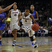 Moriah Jefferson, UConn, drives past Jessica January, DePaul, during the UConn Vs DePaul, NCAA Women's College basketball game at Webster Bank Arena, Bridgeport, Connecticut, USA. 19th December 2014