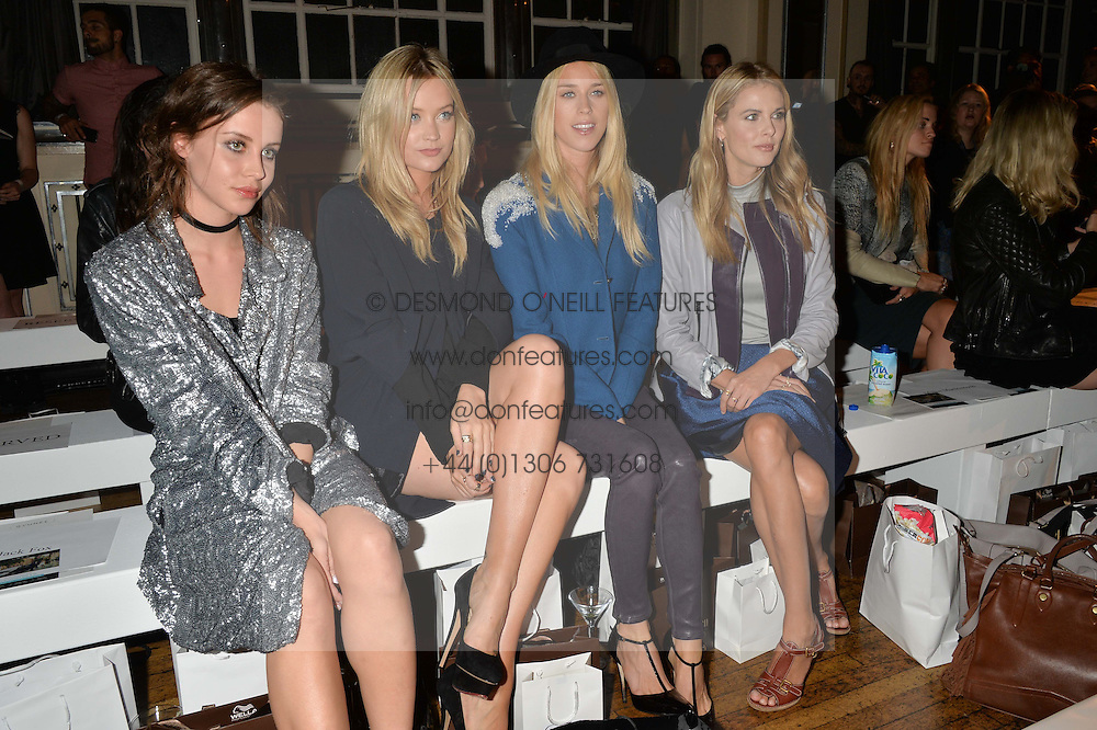 Left to right, BILLIE JD PORTER, LAURA WHITMORE, LADY MARY CHARTERIS and DONNA AIR at the Gyunel Spring Summer 2015 fashion show as part of London Fashion week 2015 held at Victoria House, Bloomsbury Square, London on 12th September 2014.