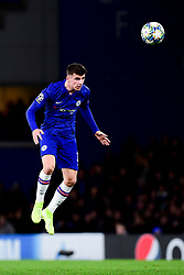 Mason Mount of Chelsea heads the ball in mid air  - Mandatory by-line: Ryan Hiscott/JMP - 10/12/2019 - FOOTBALL - Stamford Bridge - London, England - Chelsea v Lille - UEFA Champions League group stage