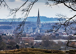 © Licensed to London News Pictures. 06/03/2018. Salisbury, UK. Salisbury Cathedral dominates the city where former Russian spy Sergei Skripal and his daughter were taken after becoming ill with suspected poisoning. The couple where found unconscious on bench in Salisbury shopping centre. Specialist units have been called in to deal with any possible contamination. Photo credit: Peter Macdiarmid/LNP