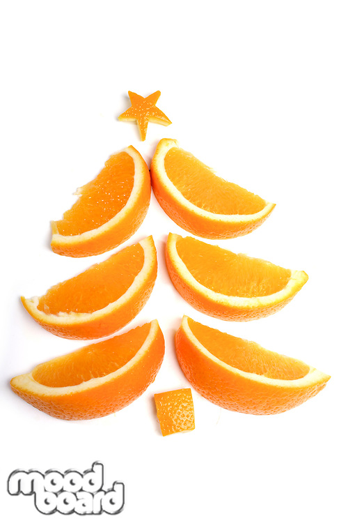 Christmas tree made from orange