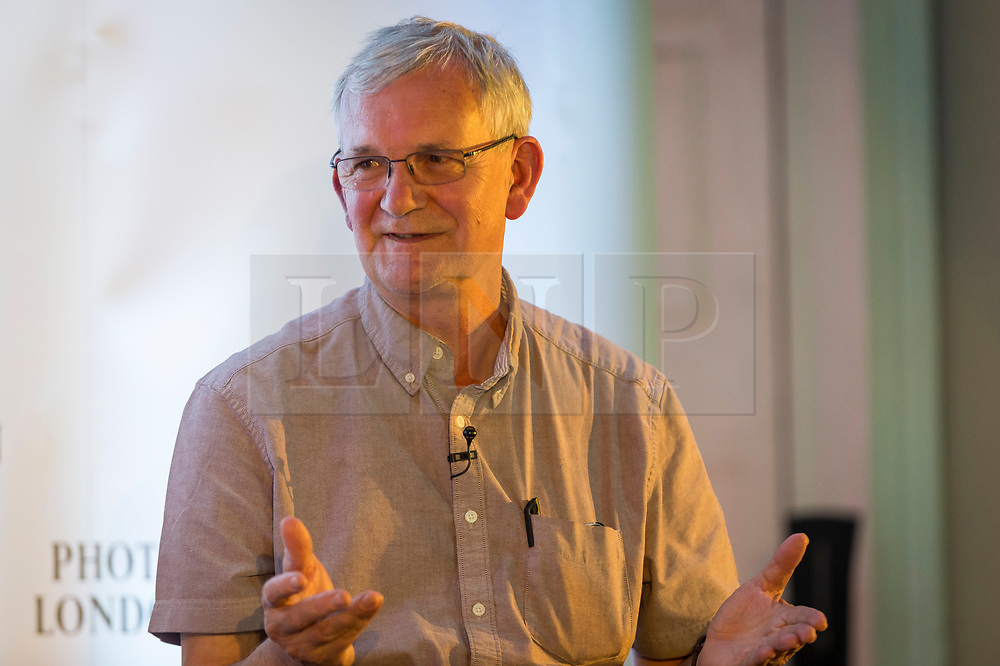 © Licensed to London News Pictures. 16/05/2019. LONDON, UK.  Magnum photographer Martin Parr is interviewed during Photo London 2019 at Somerset House.  The event showcases the best in contemporary photography from the over 100 of world class galleries for collectors and enthusiasts.  The festival runs 16 to19 May 2019..  Photo credit: Stephen Chung/LNP