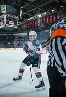 KELOWNA, CANADA - APRIL 8: Nolan Foote #29 of the Kelowna Rockets back passes the puck against the Portland Winterhawks on April 8, 2017 at Prospera Place in Kelowna, British Columbia, Canada.  (Photo by Marissa Baecker/Shoot the Breeze)  *** Local Caption ***