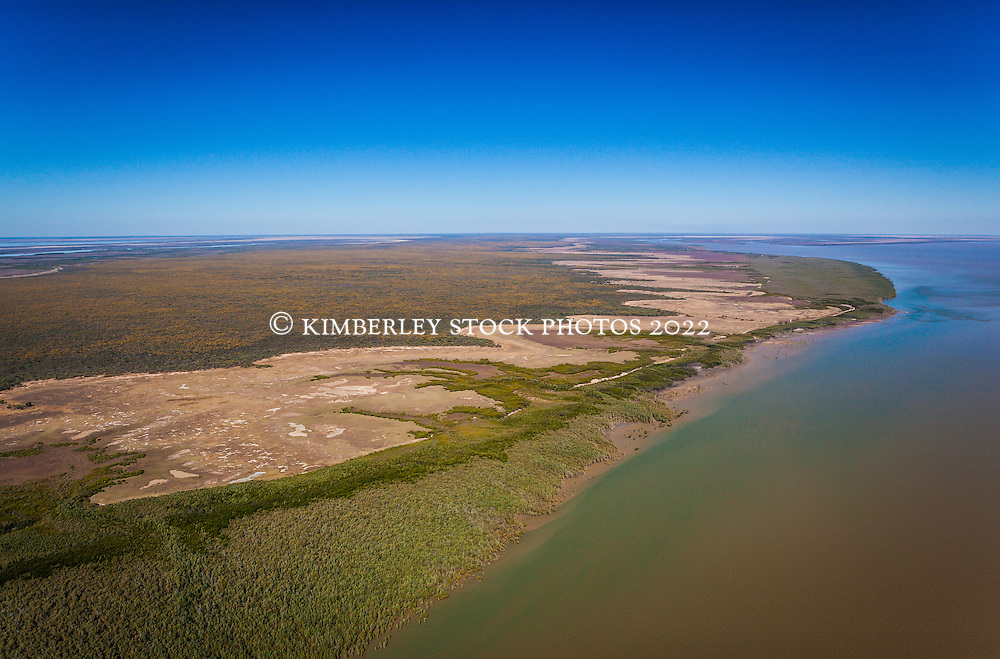 Aerial view looking west towards Point Torment, north of Derby.