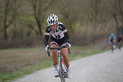 Floortje Mackaij (Sunweb) attacks across the gravel at Strade Bianche - Elite Women. A 127 km road race on March 4th 2017, starting and finishing in Siena, Italy. (Photo by Sean Robinson/Velofocus)