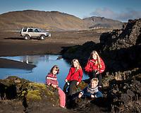 Guðrún Ragna, Arndís, Ari Carl og Bjargey við Eskihlíðarvatn.
