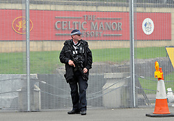 © Licensed to London News Pictures. 04/09/2014. Bristol, UK.  Armed Police at the entrance to Celtic Manor at the NATO summit being held at The Celtic Manor resort at Newport. Photo credit : Simon Chapman/LNP