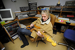 "ROTTERDAM, THE NETHERLANDS - FEB-16-2008 -.Alan Lee Shaw, guitar player for the former punk band ""The Damned"" ,  at Forma Music studios in Rotterdam, the Netherlands.  (Photo © Jock Fistick)."