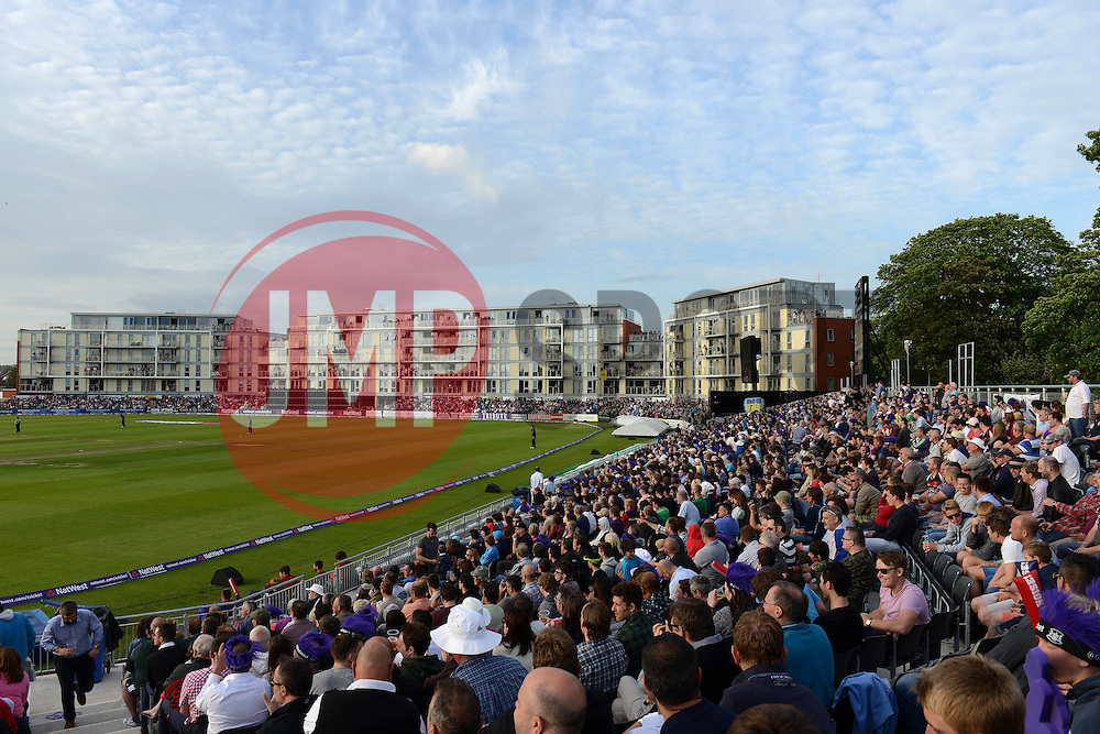 A general view of the County Ground as Cricket fans look on during the T20 game between Gloucestershire and Somerset - Photo mandatory by-line: Dougie Allward/JMP - Mobile: 07966 386802 - 19/06/2015 - SPORT - Cricket - Bristol - County Ground - Gloucestershire v Somerset - Natwest T20 Blast