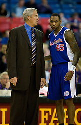 February 28, 2010; Sacramento, CA, USA;  Los Angeles Clippers coach Kim  Hughes talks to guard Rasual Butler (45) during the first quarter against the Sacramento Kings at the ARCO Arena.  Sacramento defeated Los Angeles 97-92.