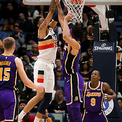 Mar 31, 2019; New Orleans, LA, USA; New Orleans Pelicans forward Christian Wood (35) dunks over Los Angeles Lakers center JaVale McGee (7) during the second quarter at the Smoothie King Center. Mandatory Credit: Derick E. Hingle-USA TODAY Sports