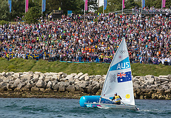 06.08.2012, Bucht von Weymouth, GBR, Olympia 2012, Segeln, im Bild GOLD.Slingsby Tom, (AUS, Laser). // during Sailing, at the 2012 Summer Olympics at Bay of Weymouth, United Kingdom on 2012/08/06. EXPA Pictures © 2012, PhotoCredit: EXPA/ Daniel Forster ***** ATTENTION for AUT, CRO, GER, FIN, NOR, NED, POL, SLO and SWE ONLY!