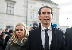 18.12.2017, Ballhausplatz, Wien, AUT, Bundesregierung, Angelobung der neuen Türkis Blauen Bundesregierung, im Bild Bundeskanzler Sebastian Kurz (ÖVP) mit seiner Freundin Susanne Thier am Weg zum Bundeskanzleramt nach der Angelobung // Austrian Federal Chancellor Sebastian Kurz with his girlfriend Susanne Thier during inauguration of the new government of Austrian Peoples Party and Austrian Freedom Party at Ballhausplatz in Vienna, Austria on 2017/12/18 EXPA Pictures © 2017, PhotoCredit: EXPA/ Michael Gruber
