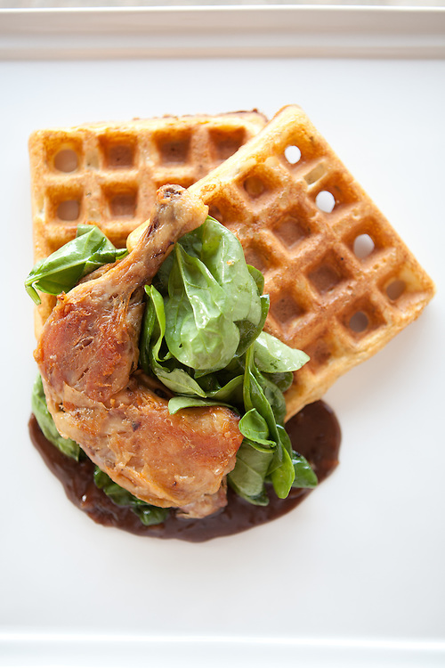Chicken and Waffles at Home Wine Kitchen in St. Louis.