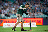 SYDNEY, NSW - MARCH 09: Ground staff do some repairs on the field at round 4 of Super Rugby between NSW Waratahs and Queensland Reds on March 09, 2019 at The Sydney Cricket Ground, NSW. (Photo by Speed Media/Icon Sportswire)
